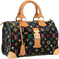 Louis Vuitton Black Multicolore Monogram Canvas Speedy 30 Bag Very Good to Excellent Condition 1