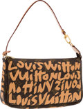 Luxury Accessories:Bags, Louis Vuitton Limited Edition Peach Monogram Graffiti CanvasPochette Bag by Stephen Sprouse. Excellent to PristineCondit...