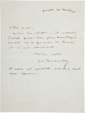 Autographs:Artists, Claude Debussy Autograph Letter Signed... (Total: 2 Items)
