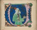 Books:Illuminated Manuscripts, [Illuminated Manuscript]. [Medieval Miniature from a Choirbook].King David in Penitence Historiated Initial. Ferrara: circa...