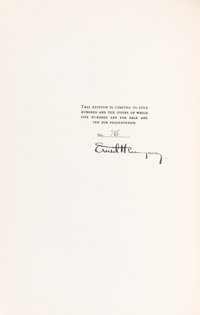 Ernest Hemingway. SIGNED/LIMITED. A Farewell to Arms. New York: Charles Scribner's S