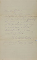 "Autographs:Authors, Poet John Greenleaf Whittier Autograph Letter Twice Signed. Twopages of a bifolium, 8.75"" x 7"", Amesbury [Massachusetts], 1..."