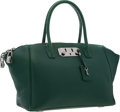 "Luxury Accessories:Bags, VBH Green Leather Brera Satchel Bag with Gunmetal Hardware .Very Good to Excellent Condition . 19"" Width x 11""Height..."