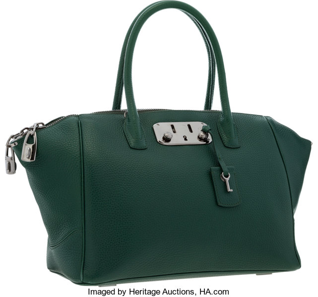 989043d63eb Very; Luxury Accessories:Bags, VBH Green Leather Brera Satchel Bag with  Gunmetal Hardware .