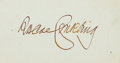 "Autographs:Statesmen, Senator Roscoe Conkling Signature. 3.25"" x 2"". Conkling (1829-1888)served in both the U.S. House and Senate as a representa..."