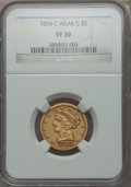 Liberty Half Eagles, 1854-C $5 Weak C VF30 NGC. Variety 2....