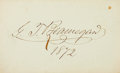"""Autographs:Military Figures, Confederate General Pierre G.T. Beauregard Signature. Placed on a 3.75"""" x 2.25"""" card, dated 1873...."""