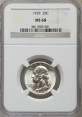 Washington Quarters, 1939 25C MS68 NGC....