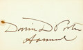 "Autographs:Military Figures, Admiral David Porter Card Signed ""David D. Porter / Admiral."" 3.25"" x 2"". One small water spot touches the first ""D"" in ..."
