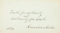 """Autographs:Celebrities, Abolitionist Lucretia Mott Autograph Quotation Signed. Written on a4"""" x 2.25"""" card, dated 1870, in full: """"Truth for autho..."""