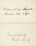 "Autographs:Authors, [Nineteenth Century Authors]. Horatio Alger Jr. and William CullenBryant Signatures. Alger (1832-1899) has signed a 3.5"" x ...(Total: 2 Items)"
