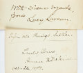 Autographs:Authors, [Nineteenth Century Authors]. Lucy Larcom and Anna E. DickinsonSignatures. American poet Larcom (1824-1893) has signed on a...(Total: 2 Items)