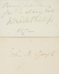 "Autographs:Authors, [Nineteenth Century Orators]. Two Signatures including: John B. Gough Card Signed. 3.5"" x 2.25"". [and:] Wendell Philli... (Total: 2 Items)"