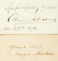 """Autographs:Celebrities, [Nineteenth Century Actors]. Two Signatures including: AmericanActress Maggie Mitchell Signed Card. 3.25"""" x 2"""". [and:] ... (Total:2 Items)"""