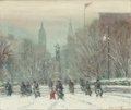 Fine Art - Painting, American:Modern  (1900 1949)  , JOHANN BERTHELSEN (American, 1883-1972). Union Square. Oilon canvas. 20 x 24 inches (50.8 x 61.0 cm). Signed lower righ...