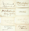 "Autographs:Statesmen, Group of Eight Nineteenth Century Statesmen Signatures. Found oncards ranging in size from 3.5"" x 2.25"" to 4"" x 2.5"". Names...(Total: 8 Items)"