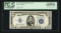 Error Notes:Ink Smears, Fr. 1653 $5 1934C Wide Silver Certificate. PCGS Very Choice New64PPQ.. ...