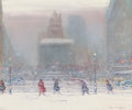 Fine Art - Painting, American:Modern  (1900 1949)  , JOHANN BERTHELSEN (American, 1883-1972). The Plaza Hotel inWinter. Oil on canvas. 20-1/8 x 24 inches (51.1 x 61.0 cm). ...(Total: 2 Items)