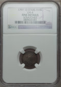 Early Half Dimes, 1797 H10C 13 Stars, V-1, LM-4, R.5 -- Scratches -- NGC Details.Fine....