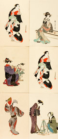Books:Prints & Leaves, [Japanese Postcards]. Group of Six with Hand-Coloring. ShimbiShoin, circa 1930's. ...