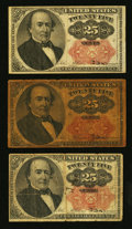 Fractional Currency:Fifth Issue, Fr. 1308 25¢ Fifth Issue Fine;. Two Fr. 1309 25¢ Fifth Issue NotesVery Good or Better.. ... (Total: 3 notes)