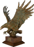 Sculpture, SANDY SCOTT (American, b. 1943). Maquette for Bald Eagle off Cannery Point. Bronze, gilt, and verdigris. 37-1/2 inches (...