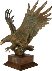 SANDY SCOTT (American, b. 1943) Maquette for Bald Eagle off Cannery Point Bronze, gilt, and verdigri