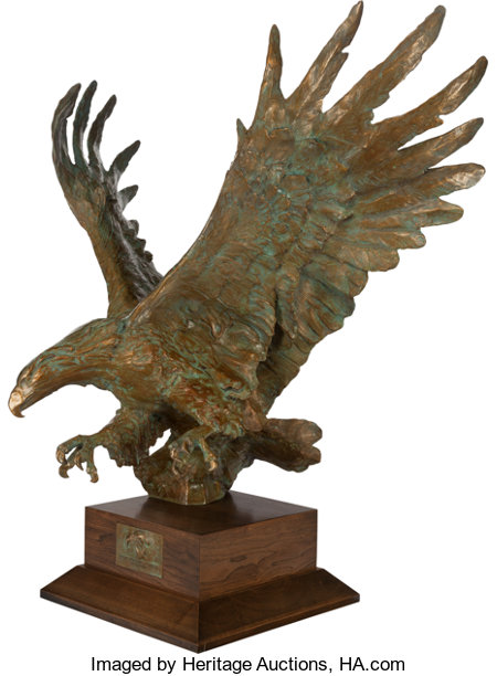 SANDY SCOTT (American, b. 1943) Maquette for Bald Eagle off Cannery Point Bronze, gilt, and verdigris 37-1/2 inches (...