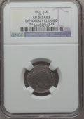 Early Dimes, 1803 10C JR-3, R.4 -- Improperly Cleaned -- NGC Details. AU....
