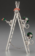 Silver Smalls:Other , A FIVE PIECE TIFFANY & CO. SILVER AND ENAMEL CIRCUS GROUP WITHMONKEYS AND LADDER, Designed by Gene Moore, New York, New Yor...(Total: 5 )