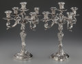 Silver Holloware, Continental, A PAIR OF ITALIAN SILVER FIVE-LIGHT CANDELABRA, Milan, Italy,1934-1944. Marks: (profile-441MI), 441MI, 925, STERLING, MAD...(Total: 6 )