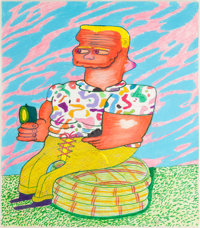 PETER SAUL (American, b. 1934) Pull the String Baby, I'm Hot, 1964 Gouache, crayon, marker, and pen