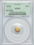 California Fractional Gold , 1870 25C Liberty Round 25 Cents, BG-808, R.3, MS65 PCGS. PCGSPopulation (49/19). NGC Census: (14/9)....