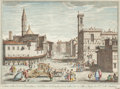 Fine Art - Painting, Russian, VINCENZO FRANCESCHINI (Italian, 1680-1740). Vedura Della BadiaFiorentina. Etching with hand-coloring. 19-3/4 x 27 inche...