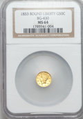 California Fractional Gold: , 1853 50C Liberty Round 50 Cents, BG-430, R.3, MS64 NGC. NGC Census:(4/2). PCGS Population (18/7). ...