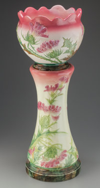 DELPHIN MASSIER MAJOLICA THISTLE JARDINIÈRE AND PEDESTAL, Vallauris, France, circa 1880 Impressed marks: VALLA