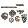 Estate Jewelry:Lots, Group Of Mother-Of-Pearl, Marcasite, Silver Jewelry. ... (Total: 8 Items)