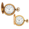 Timepieces:Pocket (post 1900), Hampden & Waltham Lady's Hunter's Case Pocket Watches. ...(Total: 2 Items)