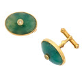Estate Jewelry:Cufflinks, Jade, Diamond, Gold Cuff Links. ...