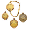 Timepieces:Other , One Pocket Wristwatch & Three Pendants Runners. ... (Total: 4Items)