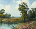 Paintings, A.D. GREER (American, 1904-1998). Countryside with Pink Flowers, 1993. Oil on canvas. 16 x 20 inches (40.6 x 50.8 cm). S...