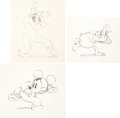 Animation Art:Production Drawing, Mickey's Service Station Mickey Mouse, Donald Duck, and Goofy Animation Drawing Group (Walt Disney, 1935)....