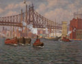 Maritime, Aloysius C. O'Kelly (American/British, 1853-1926). Tugboats inthe East River, New York, circa 1910. Oil on canvas. 20-1...(Total: 2 Items)