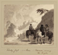 Fine Art - Work on Paper:Drawing, ALFRED JACOB MILLER (American, 1810-1874). Rocky Pass in aStorm, Caravan Crossing the Heights, circa 1837. Ink, inkwas...