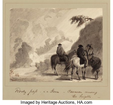 ALFRED JACOB MILLER (American, 1810-1874) Rocky Pass in a Storm, Caravan Crossing the Heights, circa 1837 Ink, ink was...
