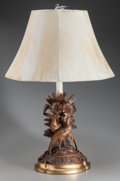 Miscellaneous:Lamps & Lighting, A PAIR OF BLACK FOREST CARVED WOOD PHEASANT TABLE LAMPS, circa1900. 34-1/2 inches high (87.6 cm) (to top of finial). PROP...(Total: 2 Items)