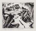 Fine Art - Work on Paper:Print, B. VAN BOCH (American, 20th Century). Village by the Sea. Spit bite aquatint. 4 x 5 inches (10.2 x 12.7 cm) (plate). Ed....