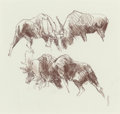 Fine Art - Work on Paper, BOB KUHN (American, 1920-2007). Study of Bull Moose.Charcoal on paper. 9 x 9 inches (22.9 x 22.9 cm) (sight).PROPERT...