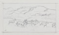Fine Art - Work on Paper:Drawing, TUCKER SMITH (American, b. 1940). Deer Herd. Pencil onpaper. 6-3/8 x 10-1/2 inches (16.2 x 26.7 cm) (sight). Initialed...