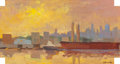Fine Art - Painting, American:Contemporary   (1950 to present)  , DEREK BUCKNER (American, 20th Century). A Warm Sunset. Oilon board. 9-1/2 x 17-3/4 inches (24.1 x 45.1 cm). Signed lowe...